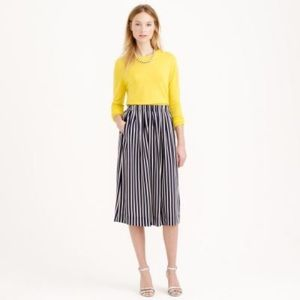 J. Crew Pleated Midi Skirt in Red Stripe